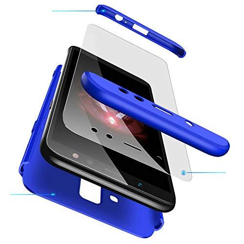 cmdkd Samsung Galaxy A6 Plus 2018 Hülle, Hardcase 3 in 1 Handyhülle 360 Grad Hülle Full Cover Case Komplett Schutzhülle Glatte Bumper + Panzerglas für Samsung Galaxy A6 Plus 2018,Navy