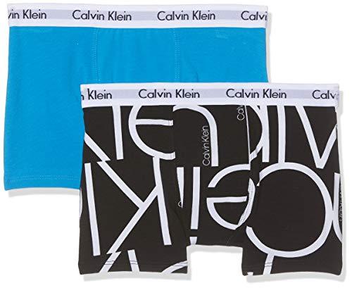 Calvin Klein Jungen 2PK Trunks Slip, Schwarz (1Oversizedblacklg/1Cloisonne 046), 140 (Herstellergröße: 10-12) -