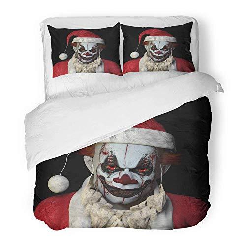3 Stück Bettbezug-Set aus gebürstetem Mikrofasergewebe Atmungsaktives Weihnachten beängstigender Santa Clown, der Sie anstarrt Schwarze gruselige böse Horror-Augen-Bettwäsche-Set mit 2 Kissenbezügen,
