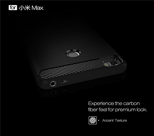EKINHUI Case Cover Brushed Carbon Fibre Robuste Rüstung Stoßstange Fall Schock Absorbtion Drop Resistance Shell Back Cover für Xiaomi Max ( Color : Black ) Gray