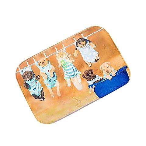 Iuhan Mode Chiens de porte de cuisine Tapis de salle de bain en mousse à mémoire absorbante Tapis antidérapant