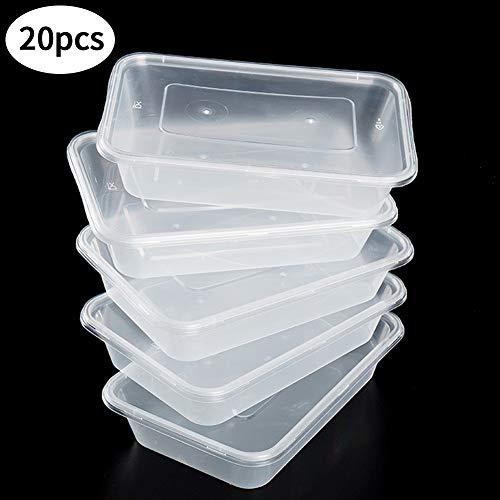 SWZY Contenants pour Aliments avec couvercles pour Le déjeuner, Paquet de 20 barquettes en Plastique, 500 ML, Transparent, sans Fuite au Micro-Ondes