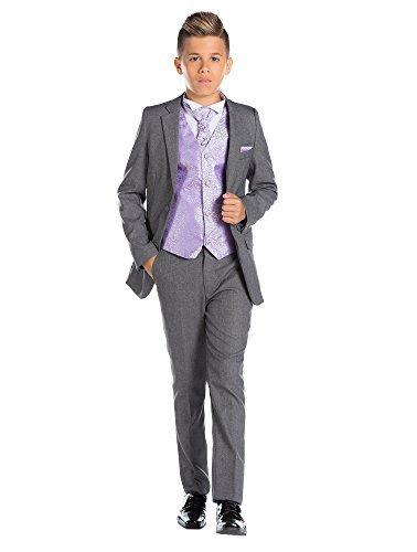 Paisley of London, Knabenanzug, grau, feiner passgenauer Anzug, Weste & Krawatte, 12-18Monate–13Jahre Gr. für 11-Jährige, ()