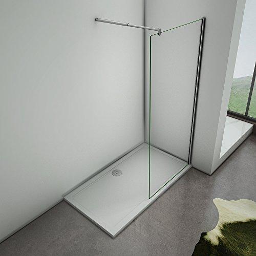 Cabine doccia 70x200 Walk In con parete fissa in cristallo 8mm temperato trasparente anticalcare Easyclean con barra stabilizzatrice regolabile