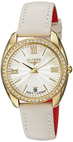 ELYSEE Women's Diana 32mm Cream Leather Band Gold Plated Case Quartz Silver-Tone Dial Analog Watch 28601