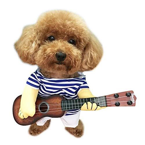 FUYIO Haustier Gitarre Kostüm Hund Kostüme Gitarrist Spieler Halloween Weihnachten Cosplay Party Lustige Katze Kleidung, Blau, (Holiday Charakter Kostüm)