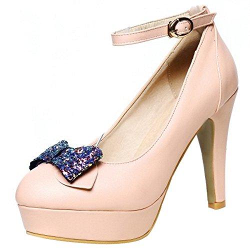 COOLCEPT Femmes Mode Sangle De Cheville Escarpins Bloc Bout Ferme Plateforme Chaussures Arc Rose