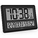Marathon Jumbo Atomic Wanduhr mit Temperatur und Luftfeuchtigkeit Modern 17.5 x .5 x 11.5 Schwarz