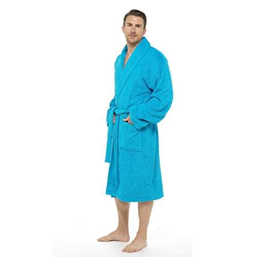 Men Towelling Robe 100% Cotton Terry Towel Hooded Shawl Collar Bathrobe Dressing Gown Bath Robe Perfect for Gym Shower Spa Hotel Robe Holiday Test