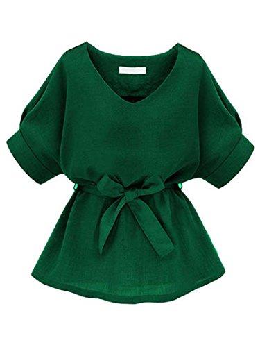 ROMWE Damen Kurzarm Bluse mit Schleife am Taille Grün L