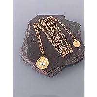 Turquesa griega turquesa oro zamak collar, collar de oro, joya dorada, collar místico, joya de mujer, idea de regalo, regalos de joyas