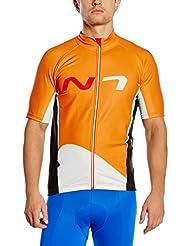 Nalini Maillot camiseta hombre camisa de manga corta de color naranja alyssum blanco