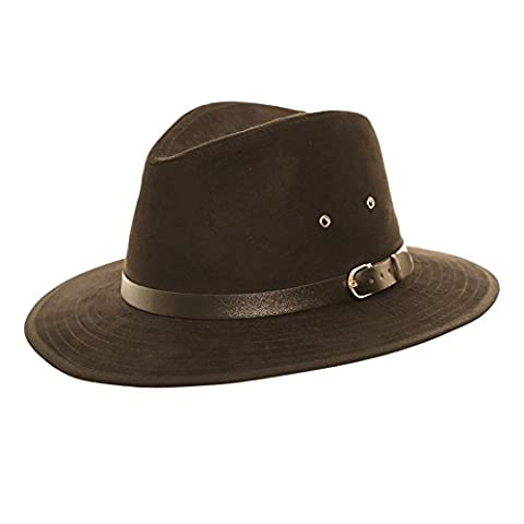 Unisex Faux Suede Summer Panama Fedora Felt Trilby Hat With Wider Brim and Belt Band (60cm, Black)