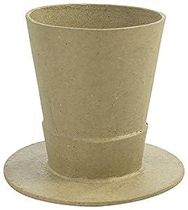 Décopatch-Jarrón Sombrero de cartón marrón Waterproof, ac797C, 10,5x 10,5x 9,5cm