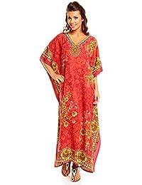 Neuf Femmes Surdimensionné Maxi Kimono Tunique Caftan Robe Caftan Grande Taille 10 - 28 - Rouge, EU 52-56