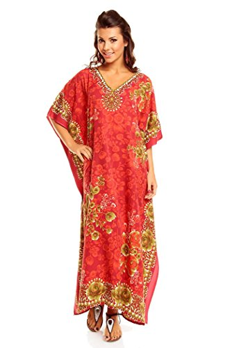 "New Ladies Plus Size Maxi Tribal Ethnic Print Tunic Kaftan Evening Party, Rojo, Size 38-44 (27"")"