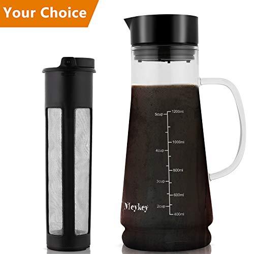 MeyKey Cold Brew Coffee Maker, 1200ML, BPA-Frei, Stylishes Geschenk Für Kaffeeliebhaber, Schwarz