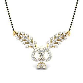 Candere By Kalyan Jewellers Harshini 14k Yellow Gold and Diamond Mangalsutra Necklace