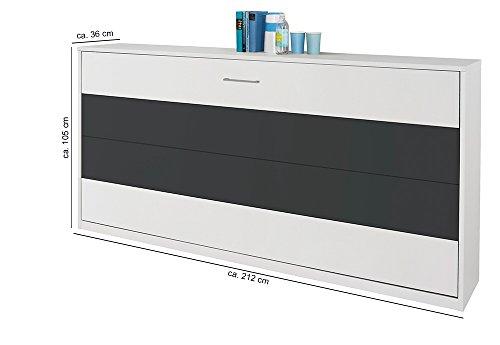 Schrankbett mit 90×200 Liegefläche in Weiß, Funktionsbett ist vertikal ausziehbar, Bett ist die perfekte Lösung für gesunden Schlaf in kleinen Räumen - 2