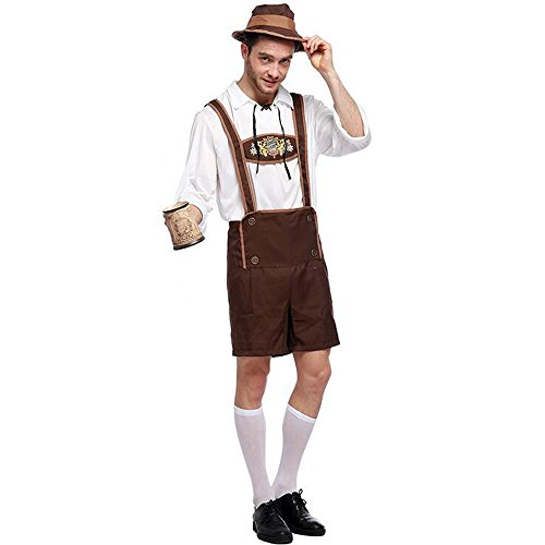 KINDOYO Männer Deutsches Oktoberfest Kostüm -Halloween Cosplay Parties oder Themed Events Kostüm (Inklusive Hut + Hemd + Hose)