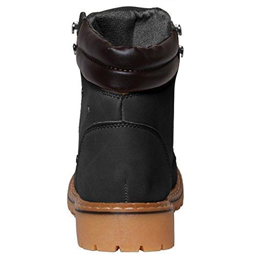 CASPAR Unisex klassische Outdoor Stiefel / Schnürboots - 2 Farben - SBO039 Schwarz