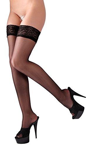 Schwarze verfüherische sexy halterlose Strümpfe mit Spitzen-abschluss für schwarze Dessous Strapse Strümpfe Slips Strings Unterwäsche Panties Reizwäsche Tangas (S)