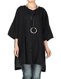 b89b835e1fa Vogstyle Women's Linen Loose Shirt Plain Flare Sleeve T Shirt Tops Blouse
