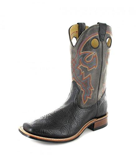 Cowboy 13 Schwarze Stiefel Größe Männer (Boulet 4092 3E Black Grey Westernreitstiefel für Herren Schwarz Grau, Groesse:47.5 (13 US))