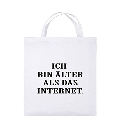 Comedy Bags - ICH BIN ÄLTER ALS DAS INTERNET - Jutebeutel - kurze Henkel - 38x42cm - Farbe: Schwarz / Silber Weiss / Schwarz