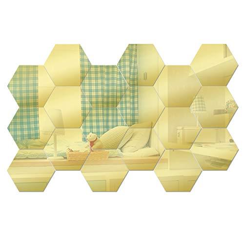Anladia Spiegelfliesen Wandspiegel Selbstklebend Gold, 18 Stück Hexagon-Spiegel aus Acryl für Wohnzimmer, Kinderzimmer, Badezimmer, Schlafzimmer, Büro