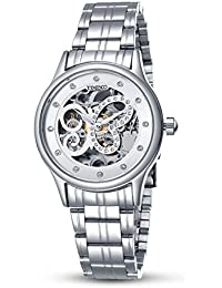 246b89aefdb6 Time100 Reloj Automático de Hueco de Forma Mariposa Reloj Mecánico para  Mujer - W60047L (acero) B071NFNFCS