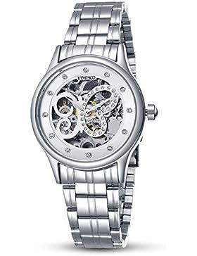 Time100 NEU Herren mechanische Armbanduhr Automatikuhr Skelett Analog Uhr Edelstahl Silber #W60047L.03A