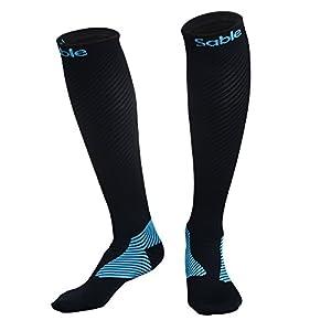 Sable Kompressionsstrümpfe Socken für Damen & Herren, Strümpfe Laufsocken Rennsocken für Sport, Reisen, Flüge, Fitnessstudio, Medizinische Zwecke und Bessere Leistung