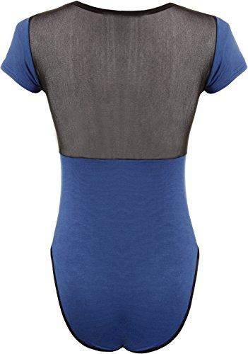 WearAll - stretch uni en maille à manches courtes Body Léotard Haut - Femmes - Haut - Tailles - 36-42 Bleu royal