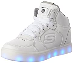Idea Regalo - Skechers Boy's Energy Lights Trainers, White (White), 3 UK (36 EU)
