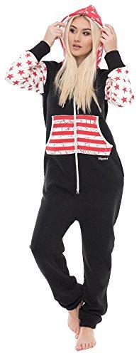 Loomiloo Jumpsuit Freizeitanzug Overall Hausanzug Einteiler Strampler Anzug Pyjama Sonntag (L, USA Schwarz)