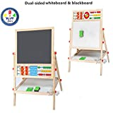 Wish key Wooden Double Sided Easel White and Black Board for Kids