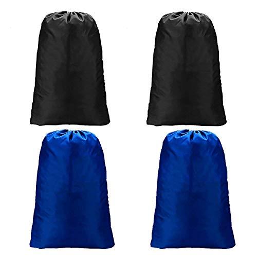 Meowoo Grand Sac à Linge Sale Voyage, Pliable Sacs de Rangement en Nylon avec Cordon pour Voyage, Stockage Familial, Dortoir Camp et Appartements, 60x90cm(2Pcs Noir + 2pcs Bleu)