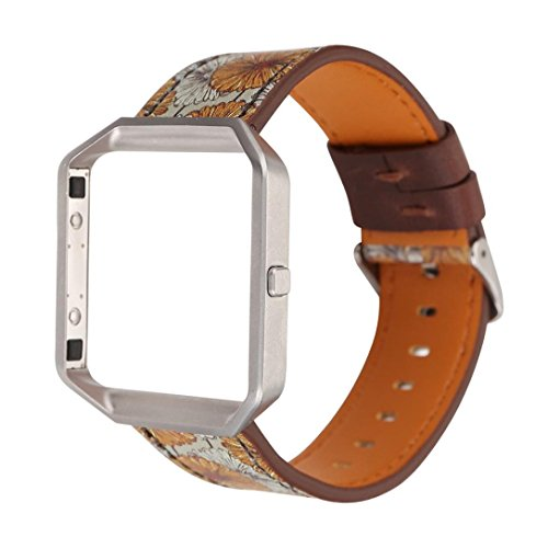 Fashion Leather Strap Replacement WatchBand&Frame Holder Shell For Fitbit Blaze,Motivator and Activity Tracker Sport Accessory Wristband Watch Smart Watch Jimmkey (wrist 150-225MM, B)