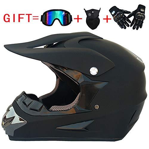 Aili Casque de Moto pour Enfant Motocross Cross Off-Road Noir Mat ATV Quad (Casque+Masques et...