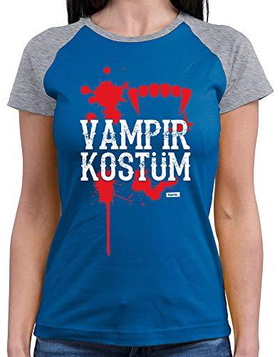 HARIZ  Damen Baseball Shirt Vampir Kostüm Karneval Kostüm Plus Geschenkkarten Royal Blue/Grey Melange (Royal Vampir Kind Kostüme)
