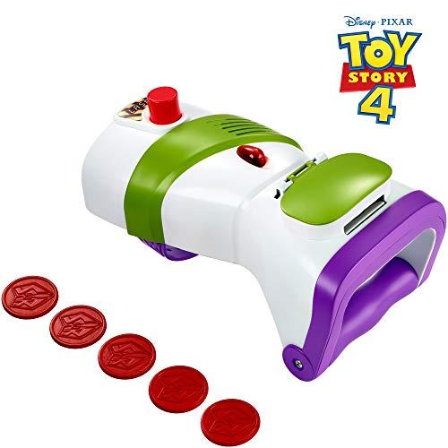 Mattel GDP85 - Disney Pixar Toy Story 4 Buzz Lightyear Wurfscheiben Blaster mit 5 Projektilscheiben, Rollenspiel Spielzeug ab 3 - Spielzeug Buzz Lightyear Kostüm
