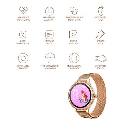 Imagen de ip68 fitness tracker watch  smart watch bluetooth podómetro contador de pasos pulsera inteligente relojes para mujeres llamada sms push android ios oro  alternativa