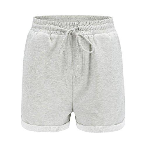 Shorts Damen Sommer Kurze Hose Einfarbig Crimpen Lose Strand Sport Hot Pants (Schwarz Grau Rosa Gelb, S~XL) (Track Pants Kalt)