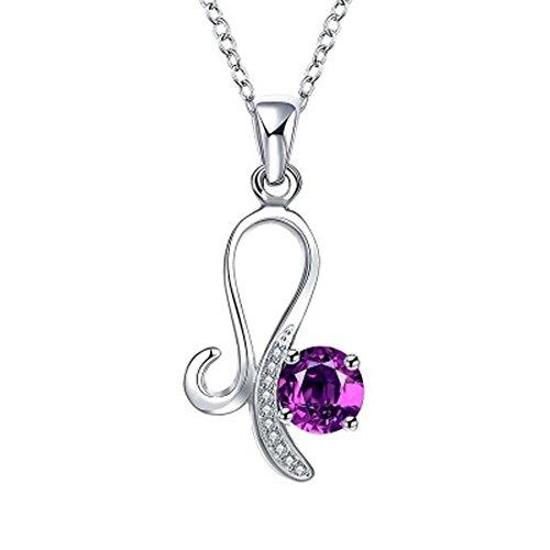 Damen Silber Halskette versilbert Damen Accessoires Damen Halsketten Kristall Anhänger,purple