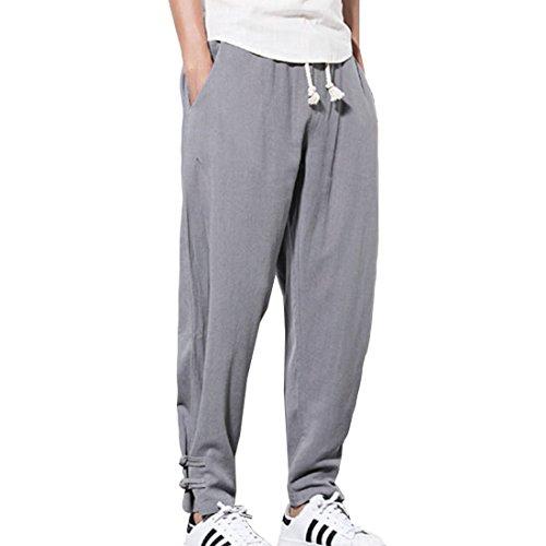 HZCX FASHION Men's Solid Color Cotton Blends Linen Kongfu Jogging Pants