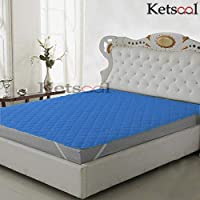 Ketsaal Waterproof King Size Cotton Quilted Mattress Protector (72x 78 Inch, Blue)
