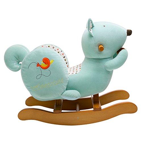 Labebe cavallo dondolo legno peluche dondolo bambini di scoiattolo blu per 6 36 mesi - Sedia dondolo bambini ...