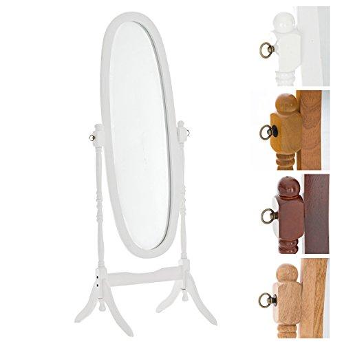 CLP Espejo de Pie de Madera Clásico y Redondo CORA | Espejo de Cuerpo Entero en Estilo Nostálgico Inclinable | Tamaño: 150 x 60 cm | Color Blanco