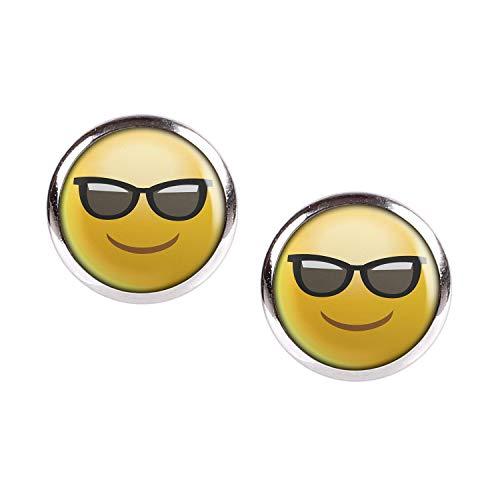 Mylery Ohrstecker Paar mit Motiv Emoji Smiley Smilies Gesicht Nr. 17 silber 12mm